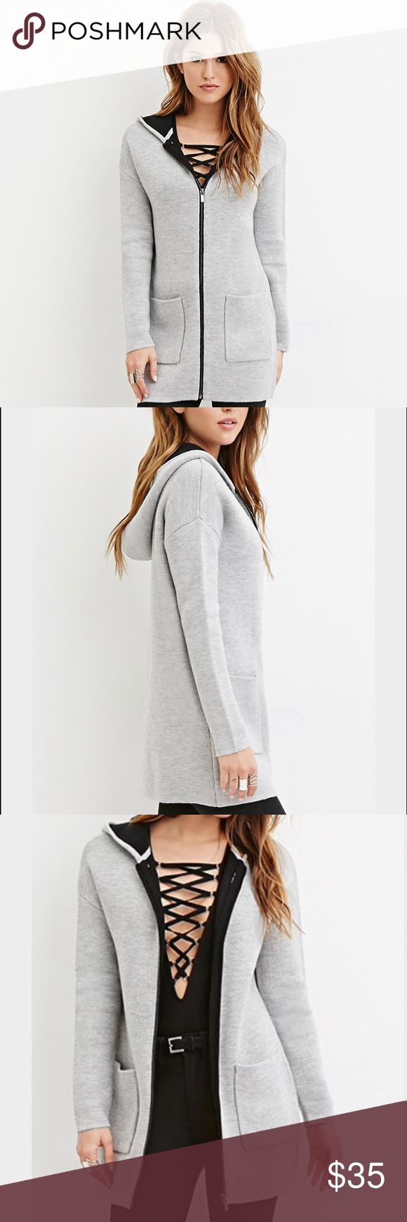 Forever 21 Longline Zip Hoodie 2016 Fall Collection Heather Grey/ Black Women's Hoodie Forever 21 Sweaters