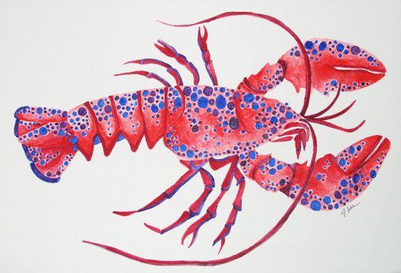 Questo è un 9x12 aragosta a mano Acquarello originale. Ogni pezzo è dipinto su carta acquerello di alta qualità utilizzando colori ricchi e vibranti e