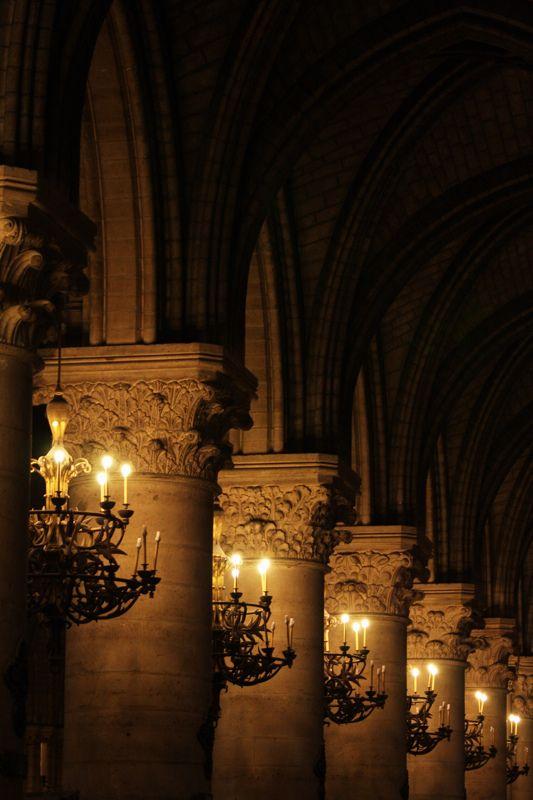 Notre Dame de Paris, France ~ lights