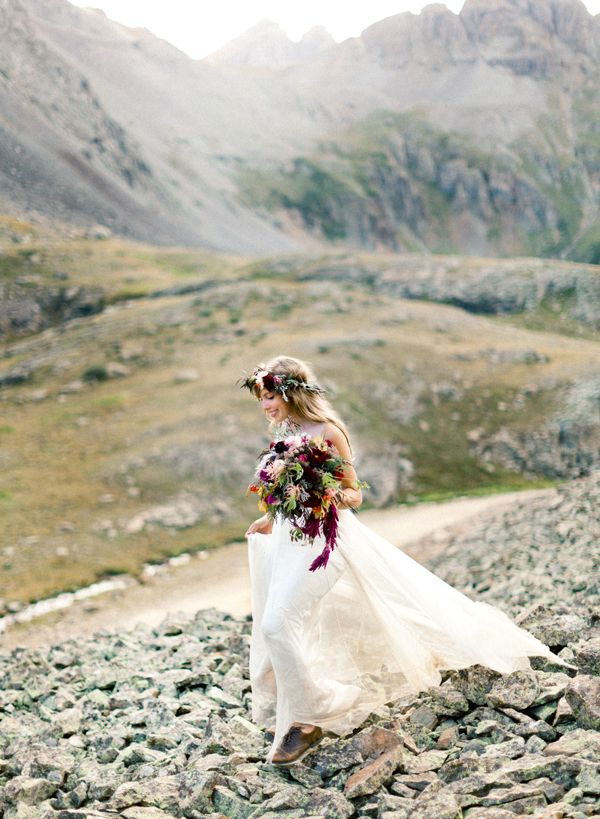 photo Brumley & Wells // BHLDN gown + gorgeous fall bouquet