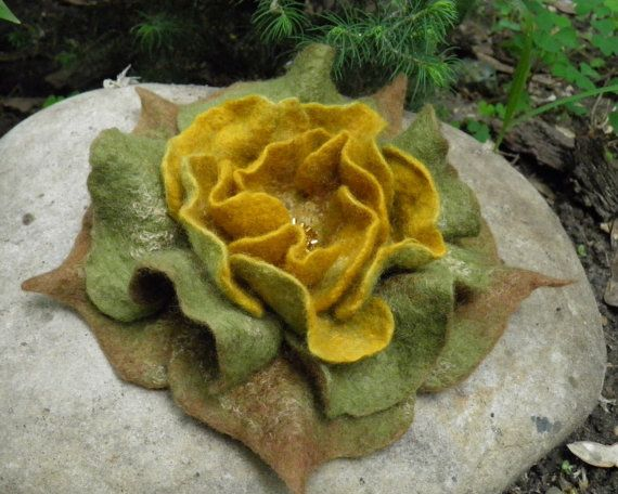 Felted Flower Brooch Rose Woodland Charm  natural by Crafts2Love, $35.00