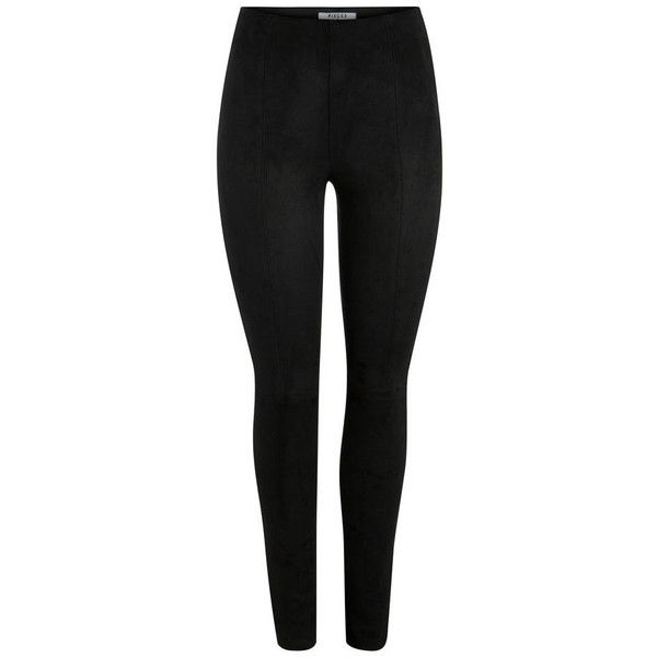 SLIM-FIT SUEDE LEGGINGS Pieces ($59) ❤ liked on Polyvore featuring pants, leggings, suede leggings, slimming leggings, legging pants, slim trousers and suede leather pants