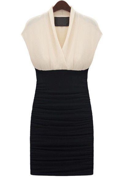 White Black Sleeveless Pleated Bodycon Dress