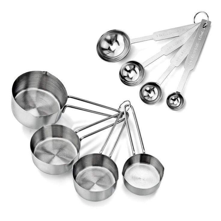 Compra AckMond 8 piezas inoxidable cucharas de medición, taza de medición, para la medición en seco y los ingredientes líquidos en Amazon.es