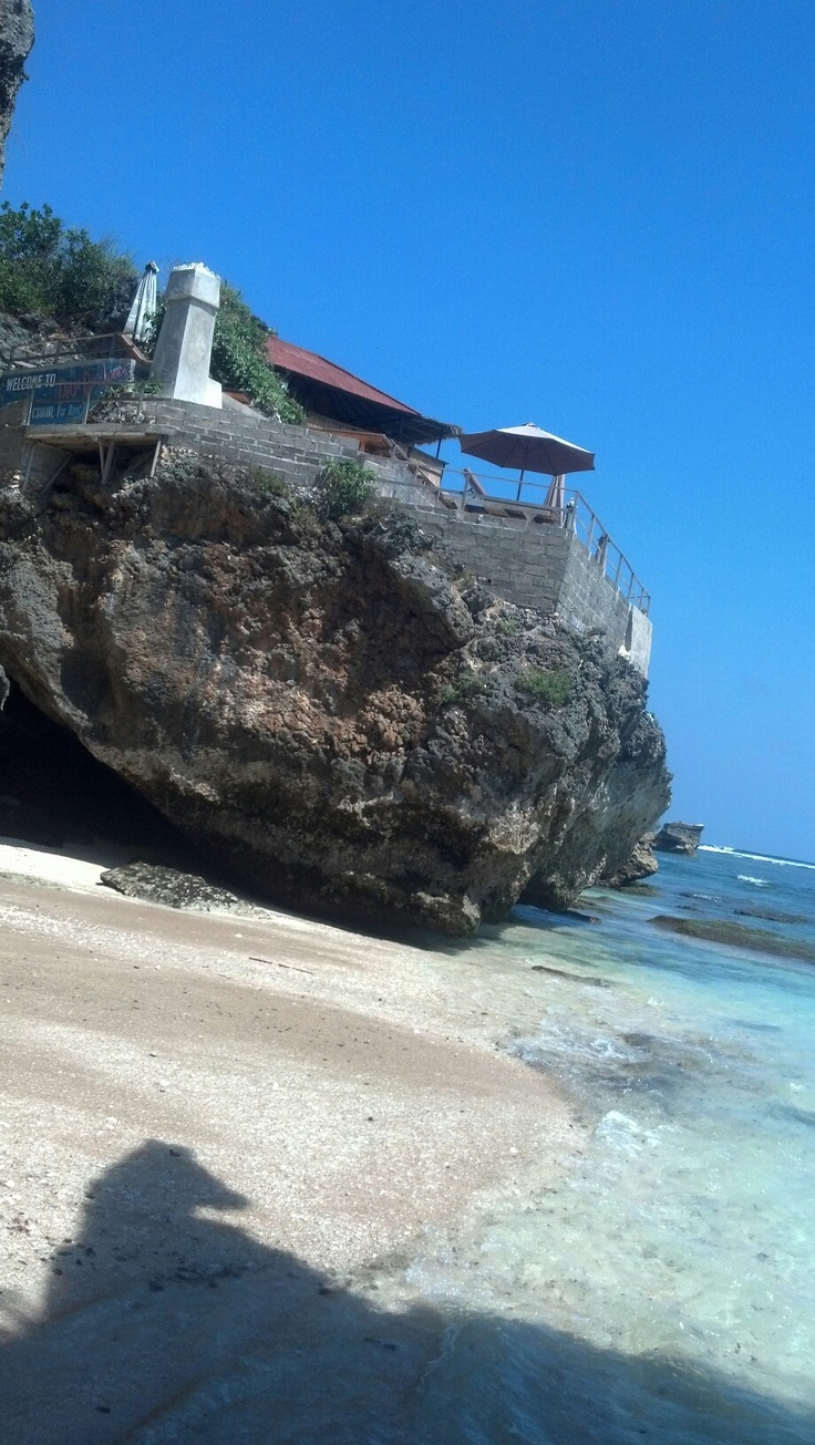 View from down below, I was standing on a semi cave reef. - Bluepoint Beach Uluwatu, Bali.