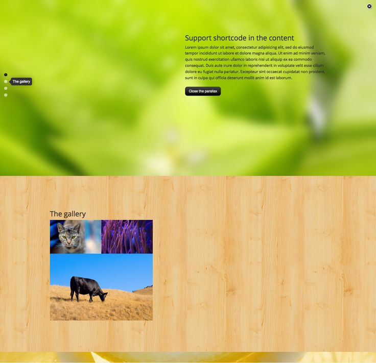 This plugin help you to add a fullscreen parallax to your WordPress, the text block support HTML other shortcode.    Features  Live preview in the backend. Optional to display it globally or in a c...