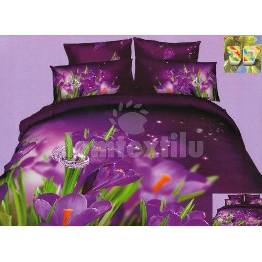 Značkové posteľné obliečky 100% bavlnený satém fialovej farby s kvetmi