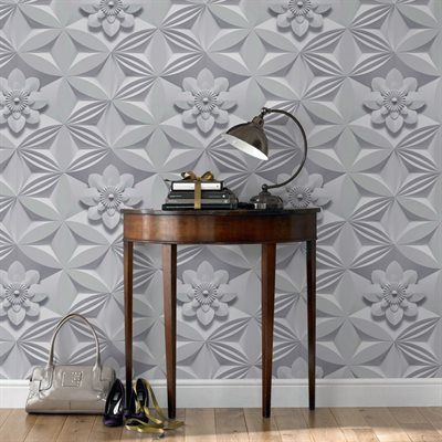 Graham & Brown 32-754 Illusions Wall Flower Grey Wallpaper