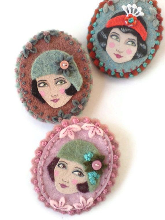 Flapper Girl Cameo Fabric Brooch