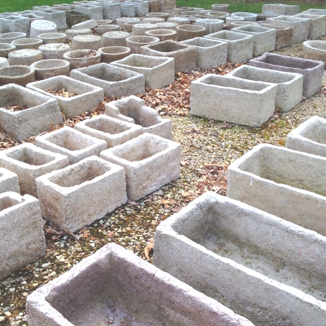 Concrete planters at The Flower Factory