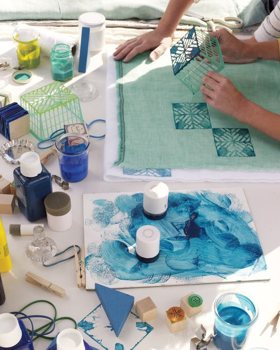 If you want to print on textiles, experiment with a variety of fabric paints. Some brands are more transparent; some are heavier -- so each gives a…