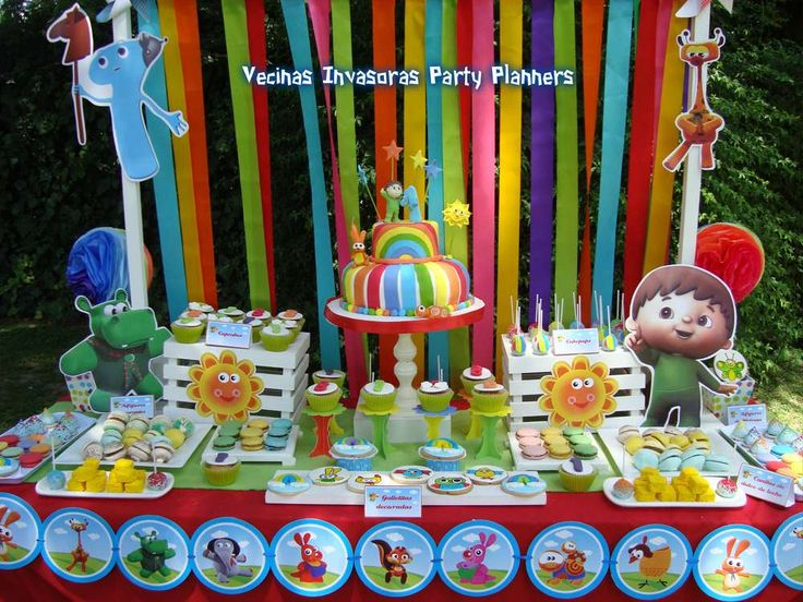 Dessert table and backdrop at a Baby TV birthday party!  See more party planning ideas at CatchMyParty.com!