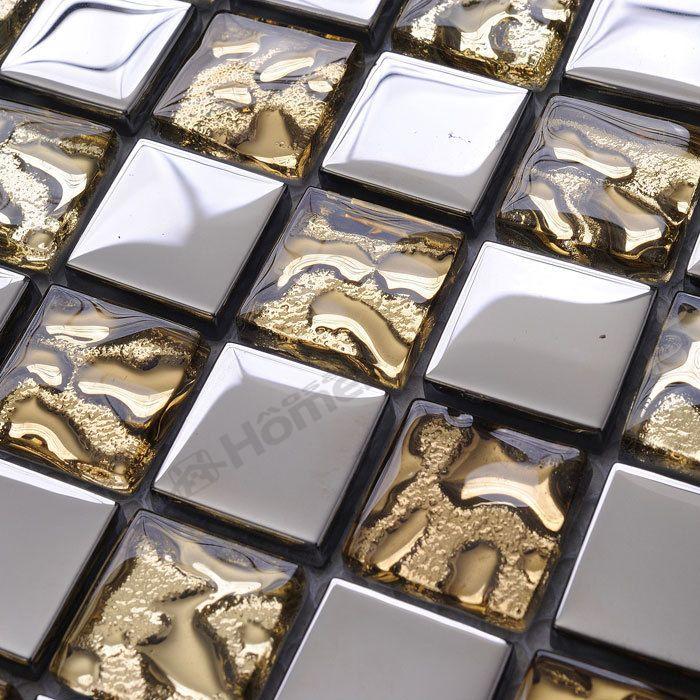 Экспресс-доставка бесплатно! золотые и серебряные стеклянная мозаика 6 мм толщина, ванная душ мозаичная плитка