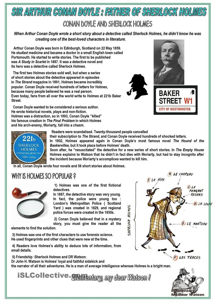 the creative writing sherlock holmes Sherlock holmes: sherlock homes, a fictional character created by arthur conan doyle, is the prototype for the modern mastermind detective sherlock holmes (right) explaining to dr watson what he has deduced from a pipe left behind by a visitor illustration by sidney paget for sir arthur.