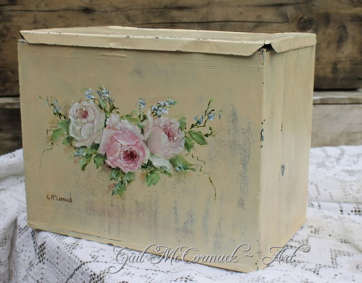 My hand painted rose design on a vintage tin box http://gailmccormack.com/