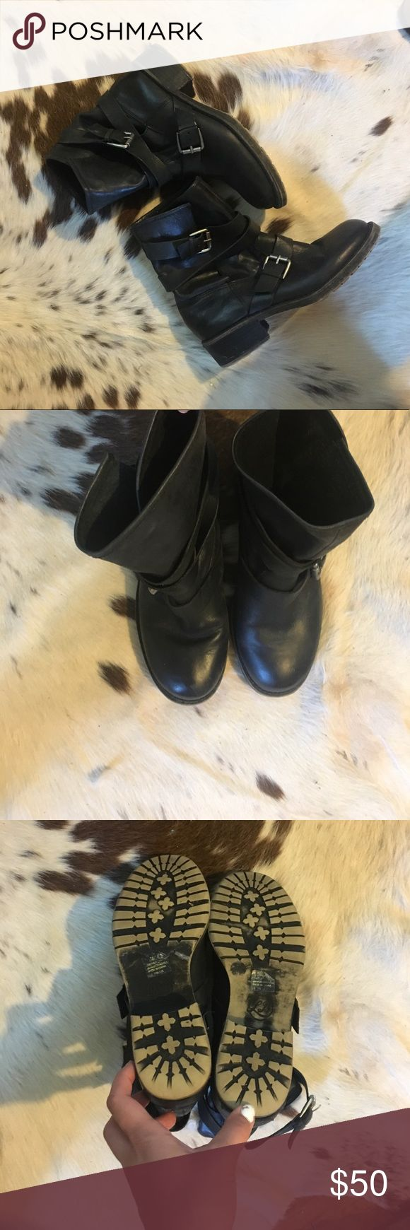 Leather Moro Boots Black Lucky Brand leather motorcycle boots. Slouchy fit on top. Solid leather. Worn pretty well but no major flaws to impair further wear! Hardware is a gunmetal silver! Lucky Brand Shoes Combat & Moto Boots