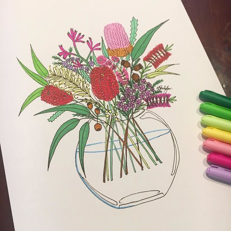Colourful Native Bouquet  . I resized Australian Wildflower Bouquet to A3 and had fun colouring it with my coloured pens as a custom order  . What do you think? Should I add hand coloured Bouquet prints to my new web shop when I re-open later on in the year? . . . . . . . . . #australianmade #aussiebush #australiana #australianartist #australiannatives #australianwildflowers #wildflowers #artprint #gumdots #myhanddrawnheart #beautifulflowers #perthgirlboss #handmadedecor #handmadefont…