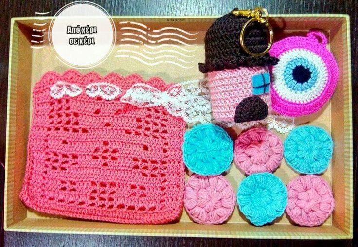 #crochet #gift #bear #filet #house #keychain #puff #flower #face #scrubbies