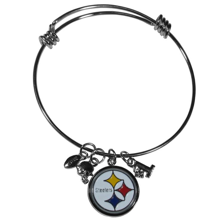 """Checkout our #LicensedGear products FREE SHIPPING + 10% OFF Coupon Code """"Official"""" Pittsburgh Steelers Charm Bangle Bracelet - Officially licensed NFL product Licensee: Siskiyou Buckle Adjustable wire bracelets 3 football themed charms and a high polish team charm One of the most popular new bracelet styles Perfect gift for a Pittsburgh Steelers fan - Price: $17.00. Buy now at https://officiallylicensedgear.com/pittsburgh-steelers-charm-bangle-bracelet-fcbb160"""