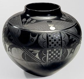 "Maria Martinez (1881-1980) and Julian Martinez (1879-1943), San Ildefonso Pueblo, 18¾"" x 22½"", circa 1938, ceramic black-on-black jar"