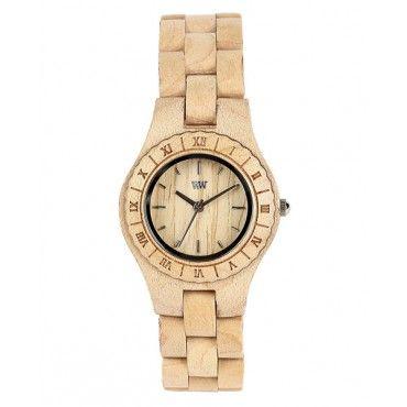 Womens wooden moon watch in beige from WeWood $115