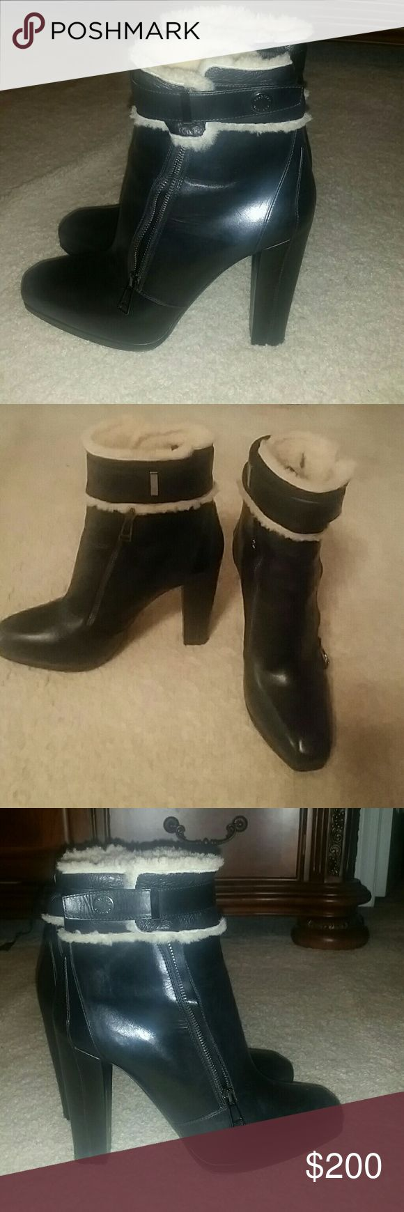 Belstaff made in Italy leather platform booties Bad azz...Belstaff England real leather and real sheep fur at ankle area!!! Platform boots, leather lined and leather soles...size 39 europe best fits an 8.5 medium us shoe size..in excellent preowned condition. .. Belstaff Shoes Ankle Boots & Booties