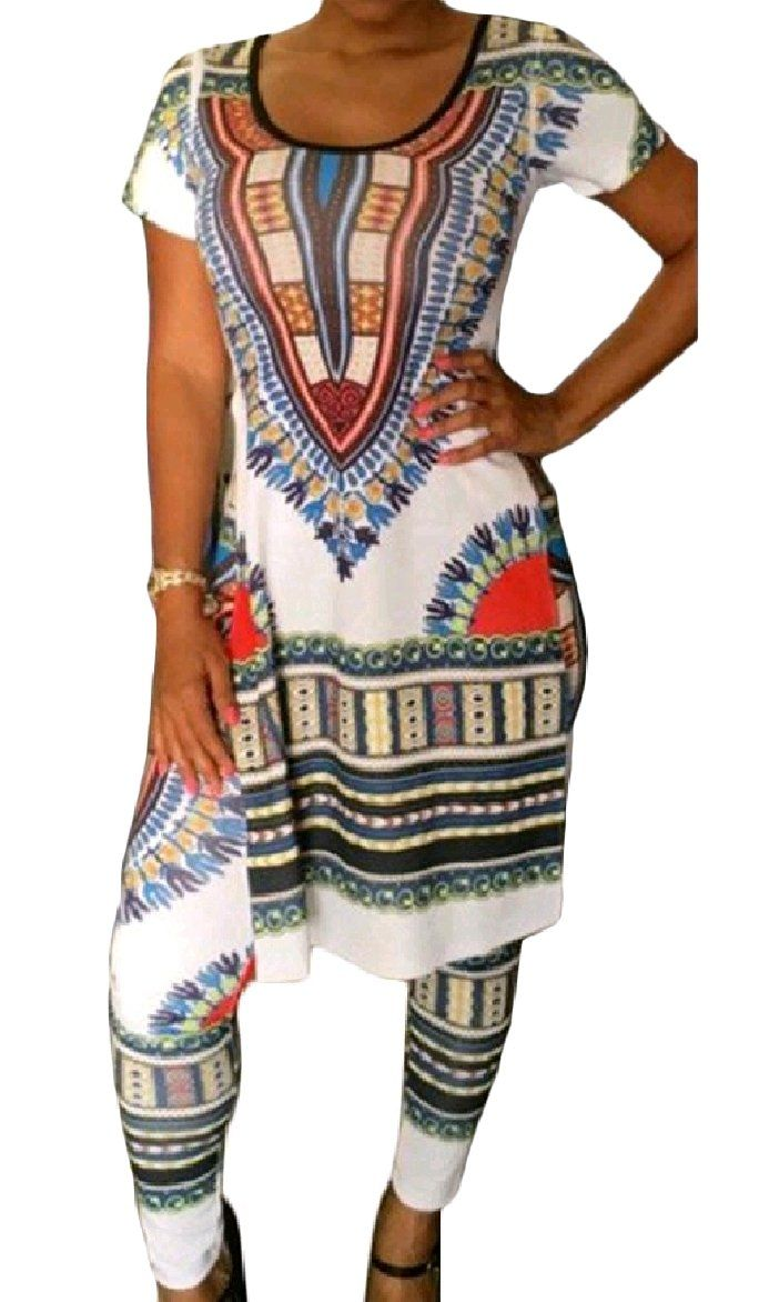 382fea2e2dc Winwinus Womens Mid Long 2Piece Short Sleeve African Style Painting Long  Pants T Shirt Dress White XL     Look into the image by going to the link.