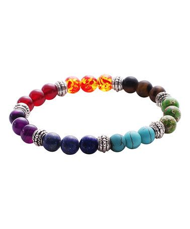 This Rainbow Stone Beaded Bracelet is perfect! #zulilyfinds