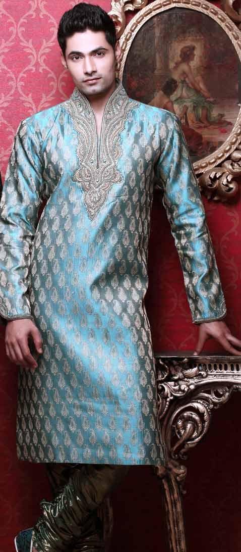 Light Blue and Off White Jacquard Readymade Kurta with Churidar