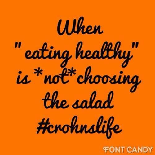 #crohnslife this is me!!! Sadly cannot eat salad (which is probably the the food I miss most)