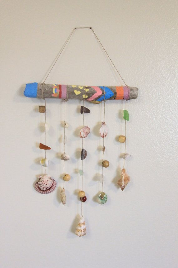 Painted driftwood shell and beach glass wind chime