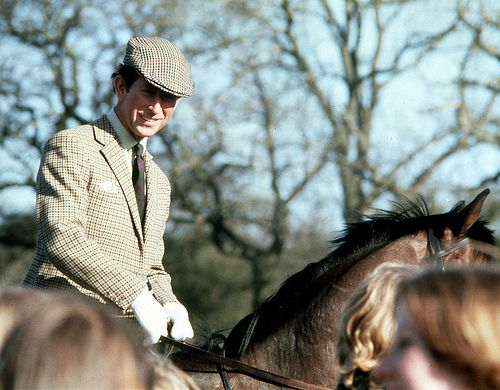 The Prince of Wales attends the Badminton Horse Trails on horseback in 1980.  © Press Association