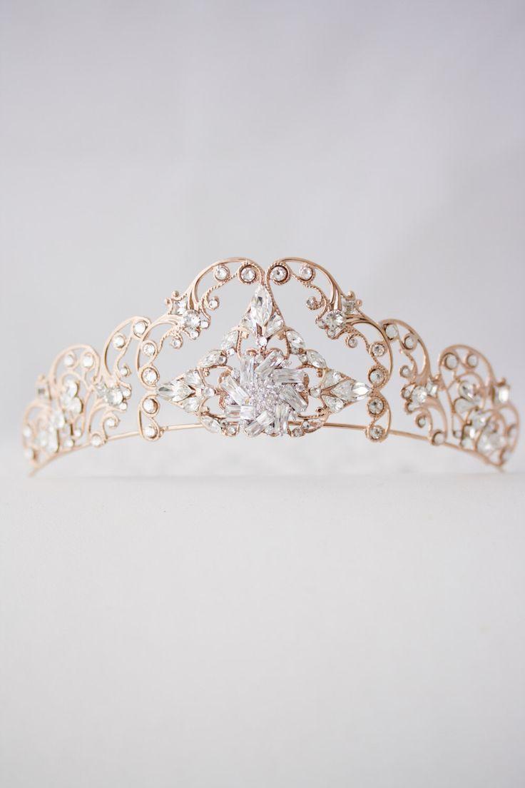 Rose Gold Tiara Crystal Wedding Tiara Filigree Bridal Crown Art Deco Diadem Swarovski Bridal Tiara  SONNET TIARA by LuluSplendor on Etsy https://www.etsy.com/ca/listing/260663468/rose-gold-tiara-crystal-wedding-tiara