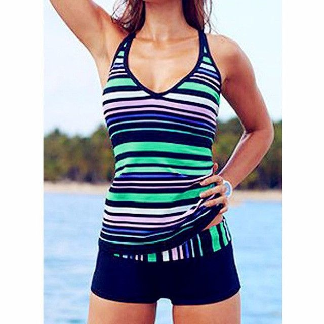 Polka Dot Swimwear Women Plus Size Vintage Two Piece Swimsuit Tankini Striped Tankini With Shorts Sport Bathing Suits Beachwear