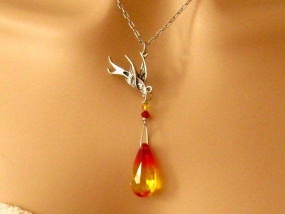 Phoenix Necklace: Antiqued Silver Phoenix Bird and Fire Opal Swarovski Crystal Phoenix Pendant Necklace - Cancer Awareness  Phoenix Jewelry