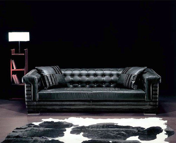 Leather Sofas Luxury Contemporary Black Leather Sofa With Table Lamp And Fur http lanewstalk