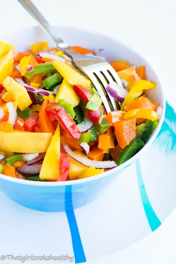 Mango salad with a ginger lime dressing