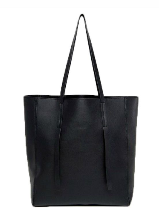 Asos Unlined Tab Detail Shopper Bag, Black