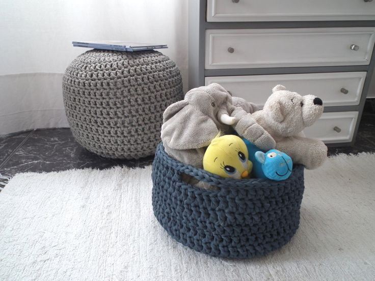 Crochet Storage Baskets - Large Storage Baskets- Eco Friendly Storage - Kids organizers - Housewares by LoopingHome on Etsy https://www.etsy.com/listing/169004835/crochet-storage-baskets-large-storage