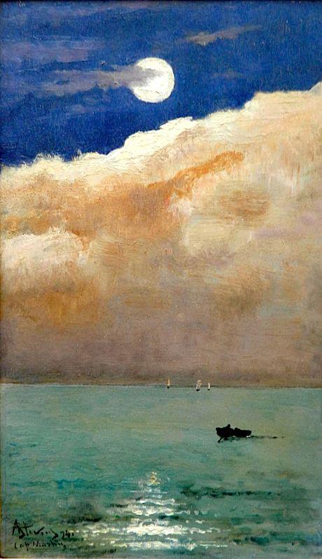 Alfred Stevens [Belgian Painter, 1823-1906] - Moonlit seascape at Cap Martin, 1892