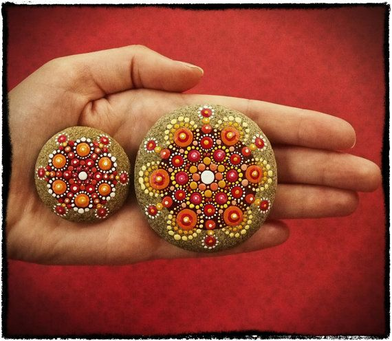 Jewel Drop Mandala Painted Stone Sun and Sand by ElspethMcLean