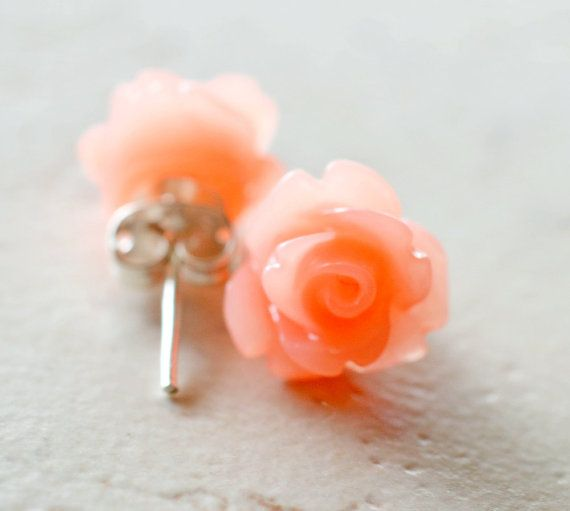 Coral Roses Earrings, Peach Flower Earrings, Coral Jewelry, Tropical Jewelry, Coral Earrings Coral Studs Peach Studs The Rosie on Etsy, $10.00