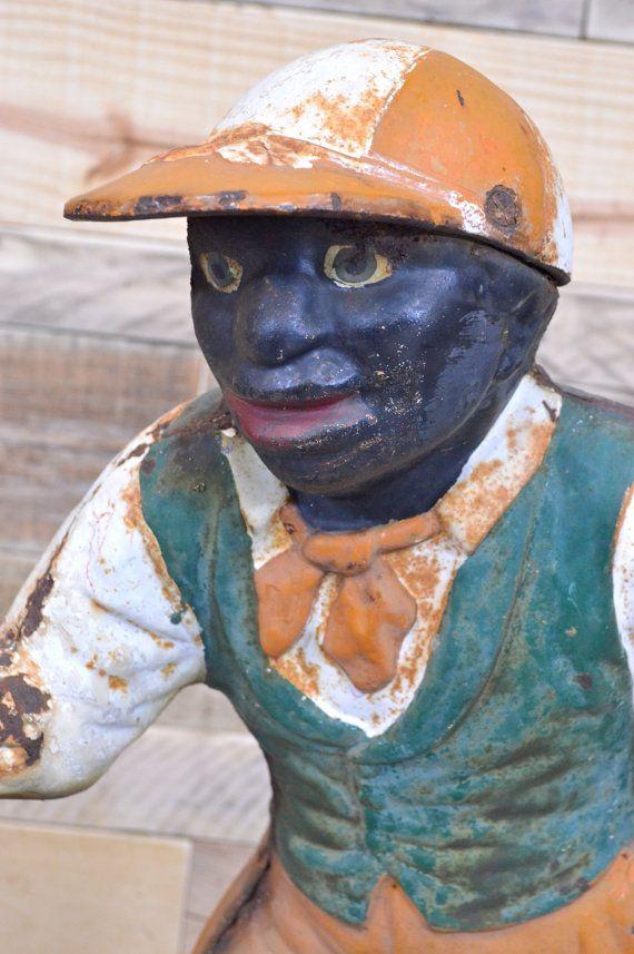 Antique Cast Iron Lawn Jockey Authentic Black By