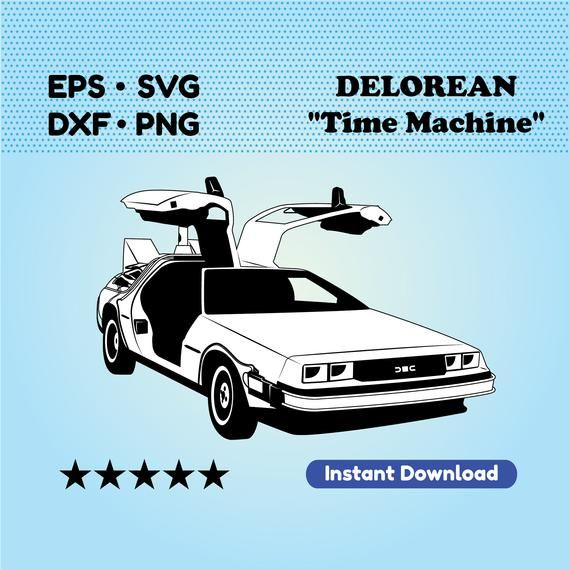 Delorean Time Machine From Back To The Future Etsy Delorean Time Machine Delorean Dxf