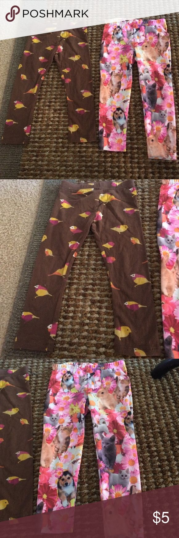 Legging bundle Brown with doves, old navy legging, and puppies, kittens, and bunnies jumping beans leggings. Preloved so please ask questions. No holes or stains. Old Navy Bottoms Leggings