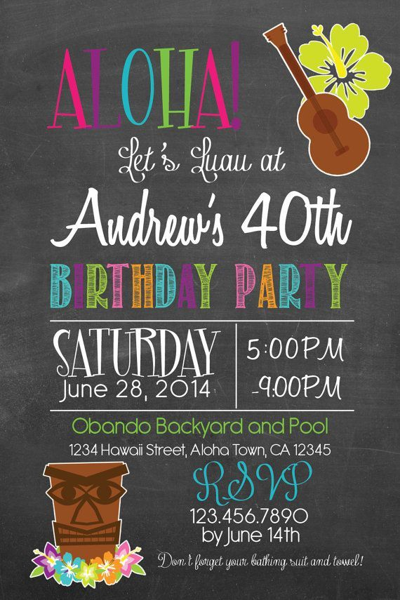 printable luau save the date cards - Google Search