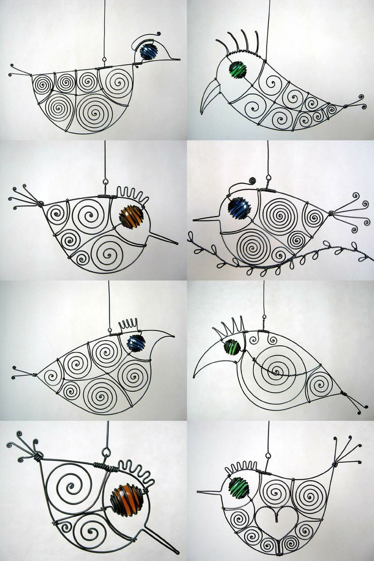 .wire birdies...3D art project mobiles: