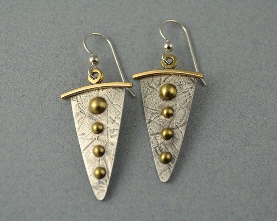 Dangle Metal Earrings  Mixed Metal Earrings by DeborahCloseDesigns, $35.00