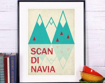 Retro art print poster minimalist design Scandinavia