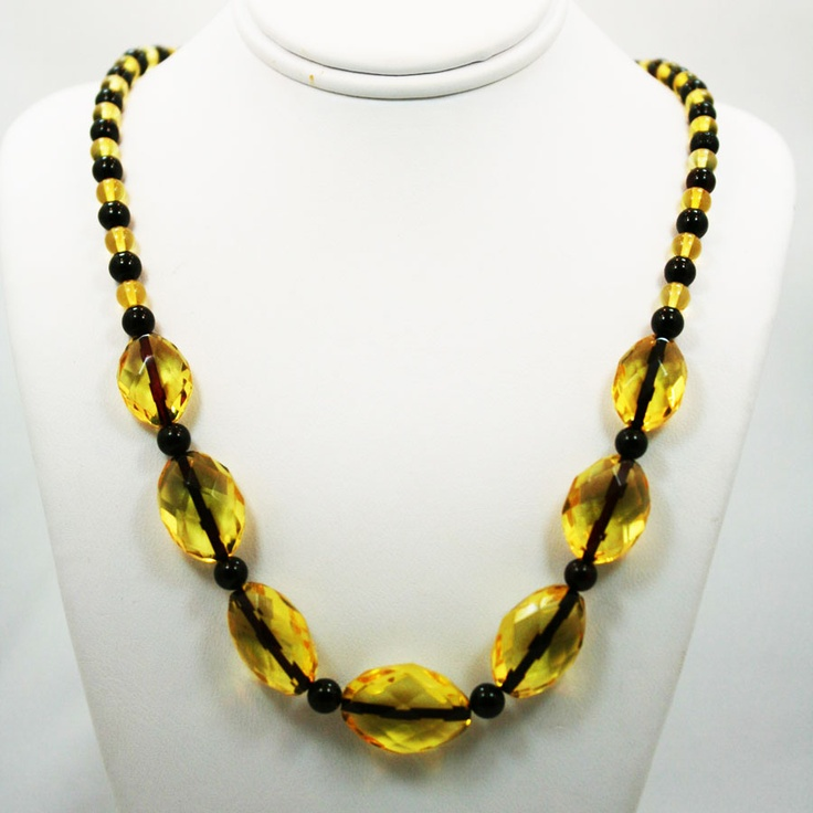 Lemon Baltic Amber Faceted necklace on Dark Thread